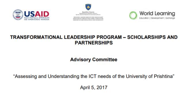 Whitepaper - ICT needs of the University of Prishtina